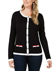 Karen Scott Women's XLarge Tipped Button-Down Cardigan Sweater Black New 17
