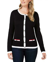 Karen Scott Women's XLarge Tipped Button-Down Cardigan Sweater Black New #17