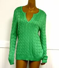 Ralph Lauren Sweater Petite Large Green Sweater cable Knit V Neck New MSRP 90