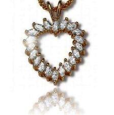Marquise Diamond Alternatives Heart Pendant Necklace 14k Yellow Gold Over Base