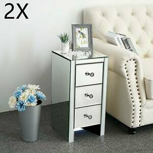 2pcs Modern Bedside Tables With Silver Mirrored Three Drawers And Crystal Handle