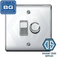 BG Nexus Polished Chrome 2 Gang Switch 1x LED Dimmer 1x 1 or 2 Way Custom Grid