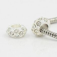 100pcs Alloy Rhinestone European Beads Charms 11x6mm Large Hole Bracelet Making