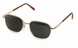 Rasterbrille Lochbrille Sehhilfe Sehtraining 420-EG, goldener Metallrahmen