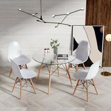 EGGREE Moderna Comedor mesa redonda  de vidrio y 4 sillas de comedor conjunto