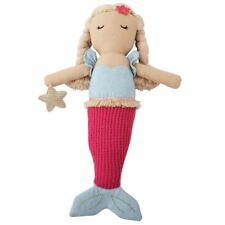 New Mud Pie Girl Hot Pink Plush Linen Mermaid Doll