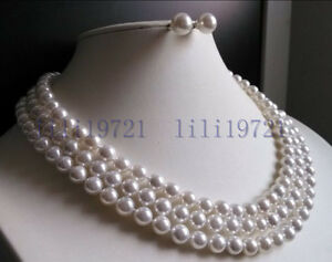 """3 Rows 8mm white south sea shell pearl necklace Earrings 17-19"""" LL008"""