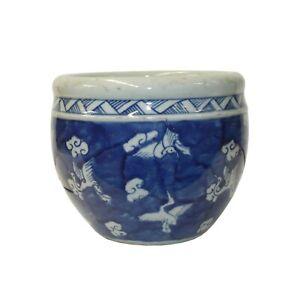 Chinese Blue White Oriental Flower Birds Scenery Porcelain Pot ws1299
