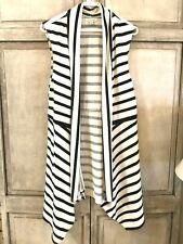 Max Studio Women's Black/Ivory Striped Asymmetrical Vest Size Large