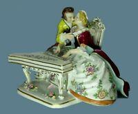 Sitzendorf Germany Porcelain Courting Couple w Piano Figurine Vintage Antique