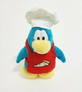 "Disney Club Penguin 8"" Plush Stuffed Animal Toy Pizza Chef HTF Blue Red Apron"