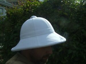 BRITISH ARMY WOLSELEY REPRO WHITE TROPICAL SAFARI SUN PITH TOPEE HAT HELMET