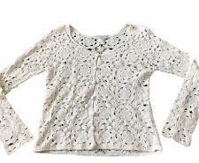 Pierre Cardin Womens Cardigan Sweater White Crochet Knit Sz S