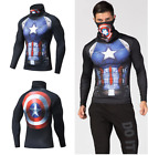 Mens Long Sleeve Compression Top with Face Mask Cover Mask for Gym Cosplay MMA