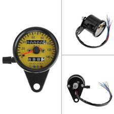 Yellow Universal LED Backlight Motorcycle Metal Odometer KM/H Speedometer Gauge