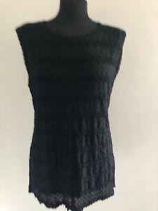 Ladies Black Crochet Escada Sleeveless Tank Top Jumper Size 42 Medium