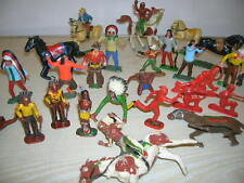 Alte Cowboy & Indianer Kunststofffiguren (Hartplastik) - ca. 60er/70er Jahre