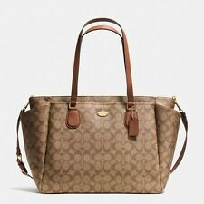 New Coach F35414 Baby Diaper Bag Tote In Signature Canvas Khaki Saddle $495 MSRP