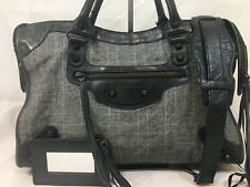 Authentic BALENCIAGA the City Black Leather with Plaid Cloth with Classic Brass