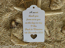 10 Kraft White Gift Tags Wedding Favour Personalised A Sweet Thank You Gold Foil