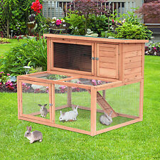 """50"""" Wooden Rabbit Hutch 2-Story Pet Cage Chicken Coop Animal with Ramp Run"""