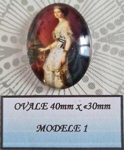 Cabochon verre ovale 40 x 30mm personnage style victorien modèle 1