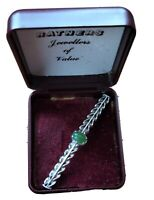 Hallmarked 1987 Sterling Silver Barley Twist & Jade Brooch Boxed Free Postage