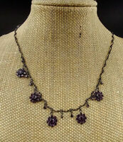 UNIQUE DELICATE VINTAGE FLOWER PURPLE AUSTRIAN CRYSTAL BRONZE TONE NECKLACE 15""