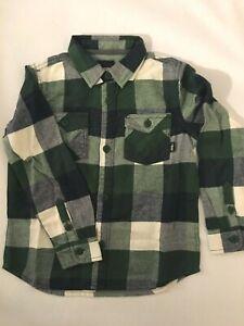 Vans New Box Flannel Long Sleeve Plaid Button Down Green Shirt Youth Boy's 5/M