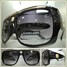 Mens CLASSIC RETRO HIP HOP RAPPER Style SUN GLASSES Large Thick Black Gold Frame