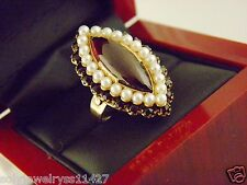 Antique Garnet and Pearl Ring 14k Yellow Gold Sz 7.5