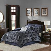 Luxurious Gold Geometric Border charmeuse Comforter Cal King Queen 8 pcs Set