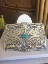Sterling Silver Turquoise Belt Buckle Rare Hand-Stamped J Blackgoat Navajo