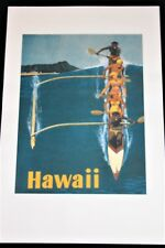 23 X 35 Stan Galli Hawaii Outrigger Canoe Vintage Airline Travel Poster Print