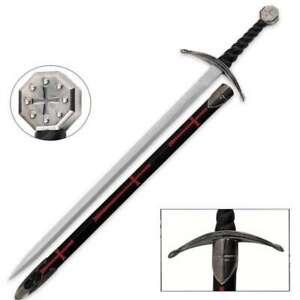 "40"" Historic Knights Templar Broadsword REAL STEEL Sword Cosplay Costume +Sheath"