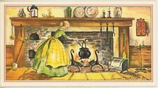 VINTAGE VICTORIAN GIRL APRON COOK LEMON BREAD LOAF CAKE RECIPE CARD OLD PRINT
