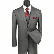 VINCI Men's Medium Gray Pinstripe 3 Piece 2 Button Classic Fit Suit NEW