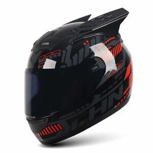 Full Face Gears Personality Motorcycle Women Accessory Black Lens Ear Helmet