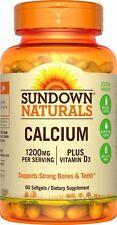 Sundown Naturals Calcium 1200 mg per Serving plus Vitamin D3, 60 Softgels