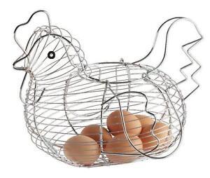 Chicken Shaped Eggs Basket Storage Rack Chrome Plated Kitchen Egg Holder  New