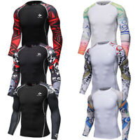 Mens Compression T-shirt Workout Sports Jersey Athletic Tee Long Sleeved Printed