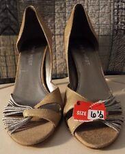 Nine West leather beige gold silver heels PROM 6.5 Medium Salvage Excellent Pump