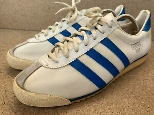 Excellent Adidas Rom White Blue Sneaker 70's Made in Austria Men USA10