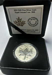 🇨🇦 New  $20 SPECTACULAR - SUPER INCUSE - 1 Oz Silver Leaf with PRIVVY, 2021