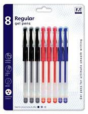 8 Regular Gel Pens Black Blue Red Rubber Grip School Office Writing Stationery