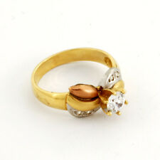 Lovely 14K Tricolor  White/ Yellow/ Pink Solid Gold  Lady's Ring Size 7 75