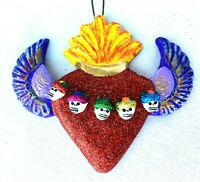 HEART with ANGEL WING 5 SKULLS of FRIDA KAHLO  Ceramic Day of the Dead Ornament