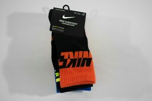 NIKE Everyday Cushioned Crew Socks 3 PACK - Size Medium 5Y-7Y - Volt Blue Black