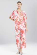 NWT N Natori Sunkist Coral ARTSY WATERCOLOR Capri Pajama/Lounge Set Ikat Sz -XL