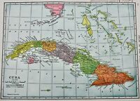 OLD ANTIQUE 1905 CUBA / PORTO RICO MAP COLOR CHROMOLITHOGRAPH PRINT